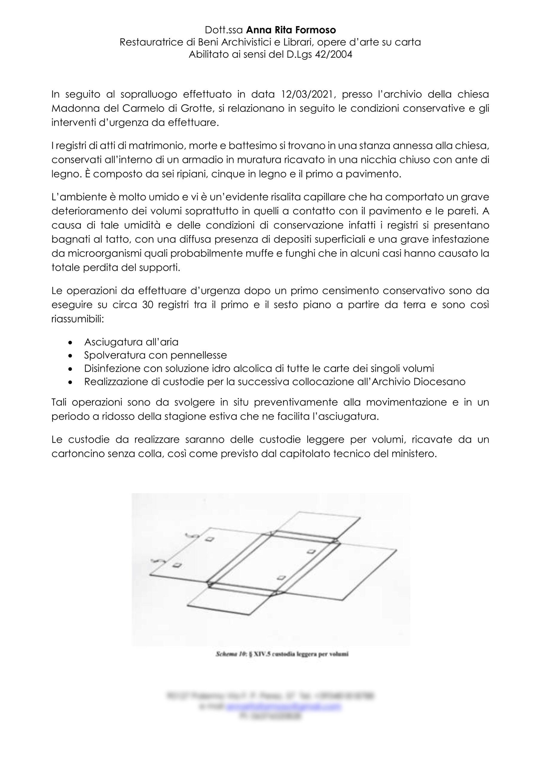 Relazione Archivio chiesa Madonna del Carmelo Grotte1